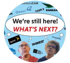 """Image of a man and woman with thought bubble """"We're still here! What's next?"""" surrounded by logos of tech companies."""